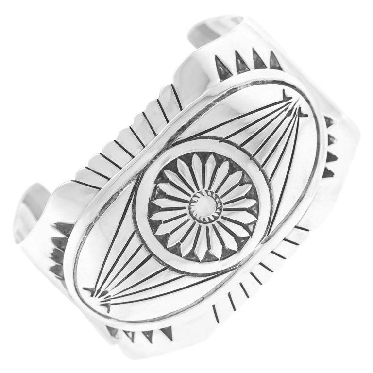 Navajo Sterling Cuff Bracelet For Sale