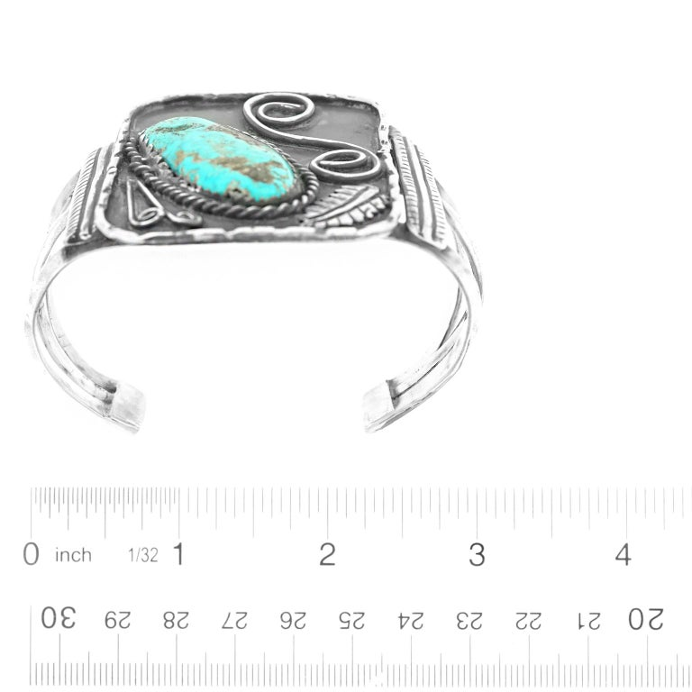 Women's or Men's Navajo Sterling Cuff with Turquoise For Sale