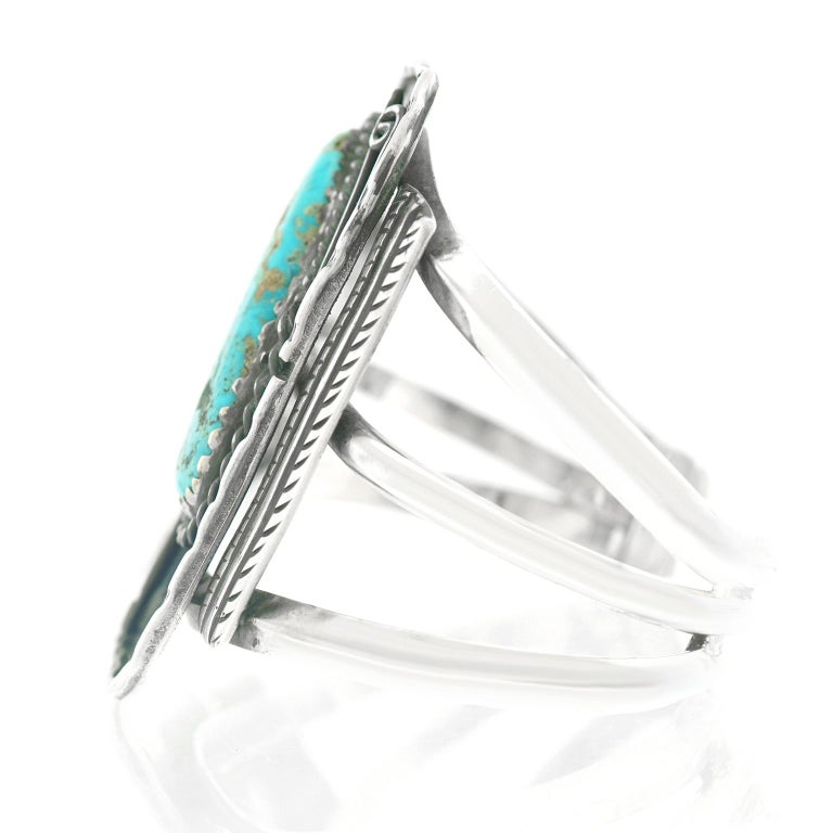 Navajo Sterling Cuff with Turquoise For Sale 1