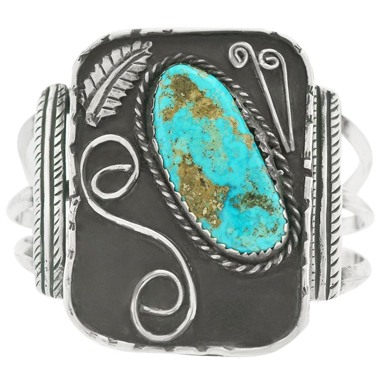 Navajo Sterling Cuff with Turquoise For Sale