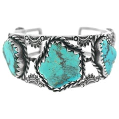 Navajo Sterling Openwork Cuff with Five Large Turquoise Stones