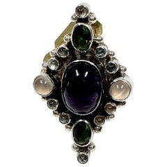 Navajo Sterling Silver 10 Gr. Multi Stone Ring by RD CCRS26