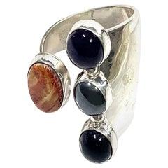 Navajo Sterling Silver 20 Gr. Multi Stone Ring by L. Bennett