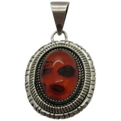 Navajo Sterling Silver Amber Pendant by P.A. Smith