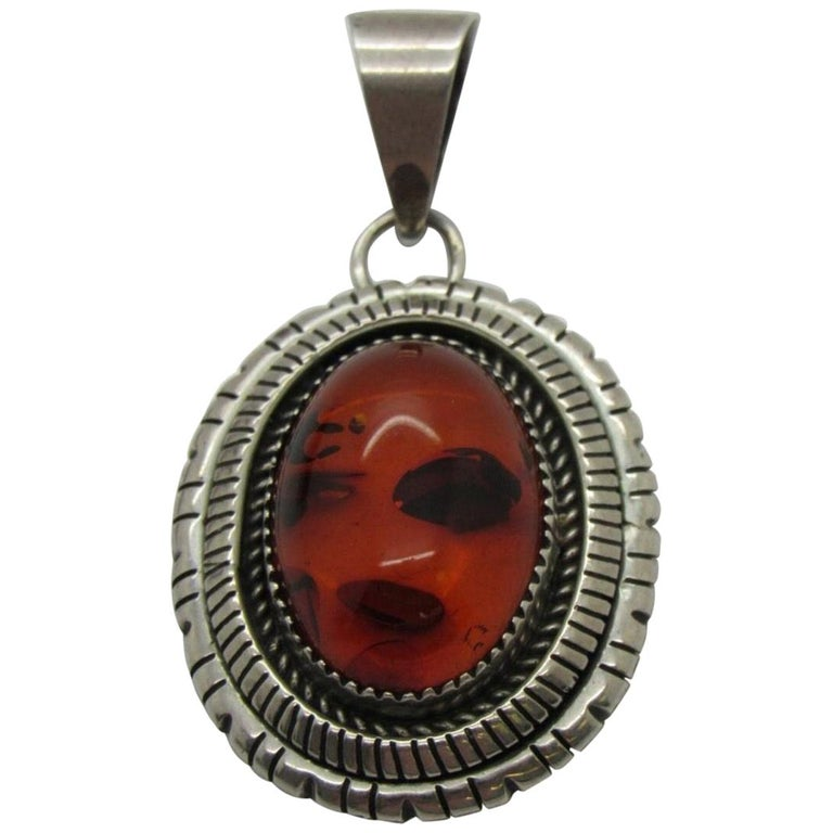 Navajo Sterling Silver Amber Pendant by P.A. Smith For Sale