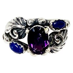 Navajo Sterling Silver Lapis Lazuli, Amethyst Ring 4.4 Gr. CCRS27
