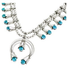 Navajo Sterling Squash Blossom Necklace by Fatoya Yazzie
