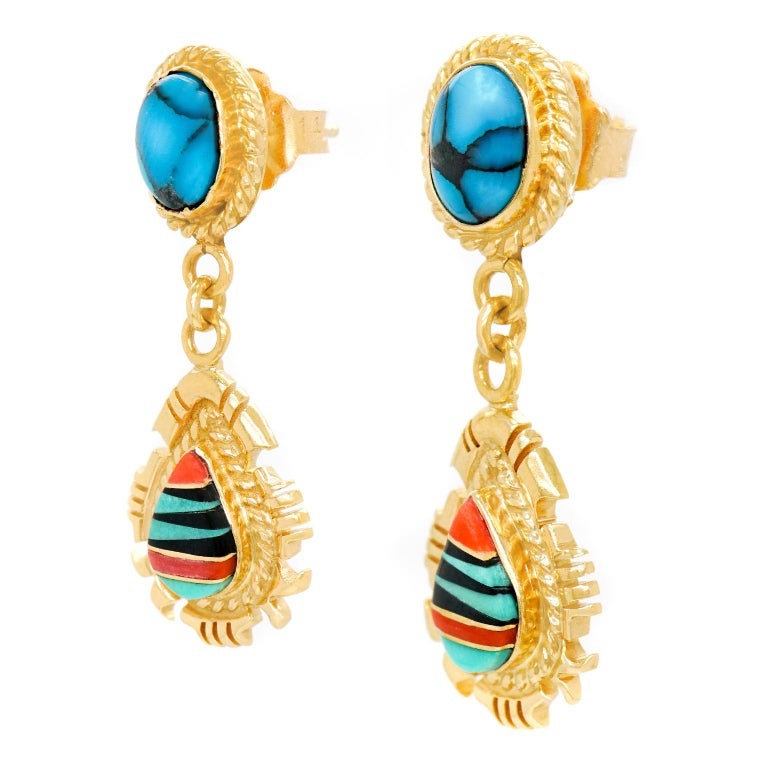 Native American Navajo Stone Inlay Gold Earrings For Sale