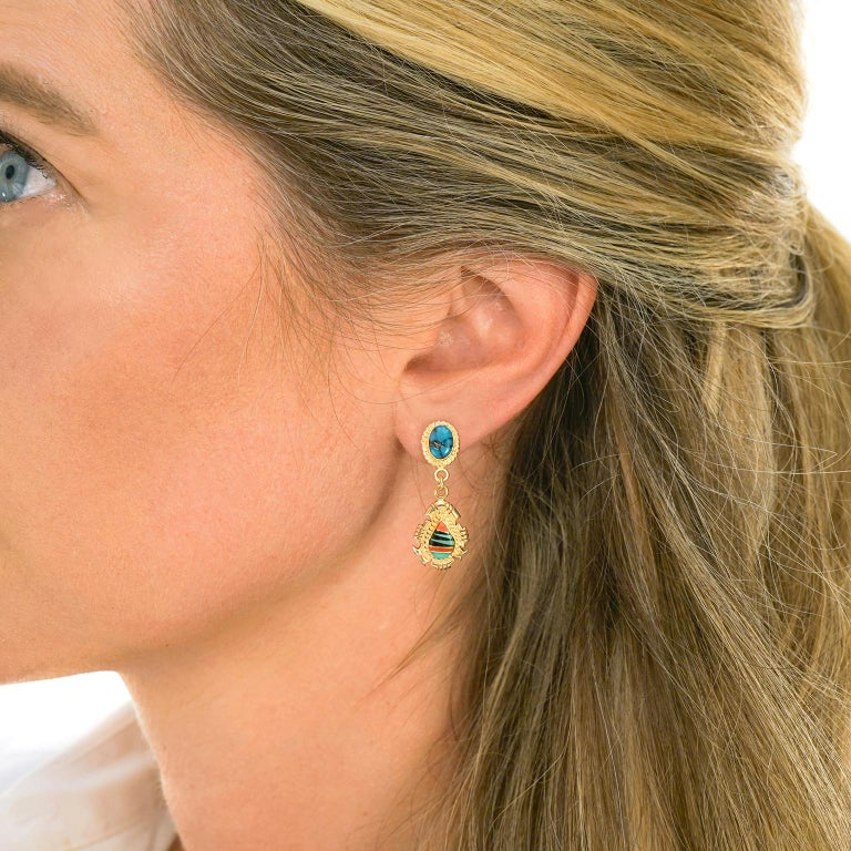 Cabochon Navajo Stone Inlay Gold Earrings For Sale