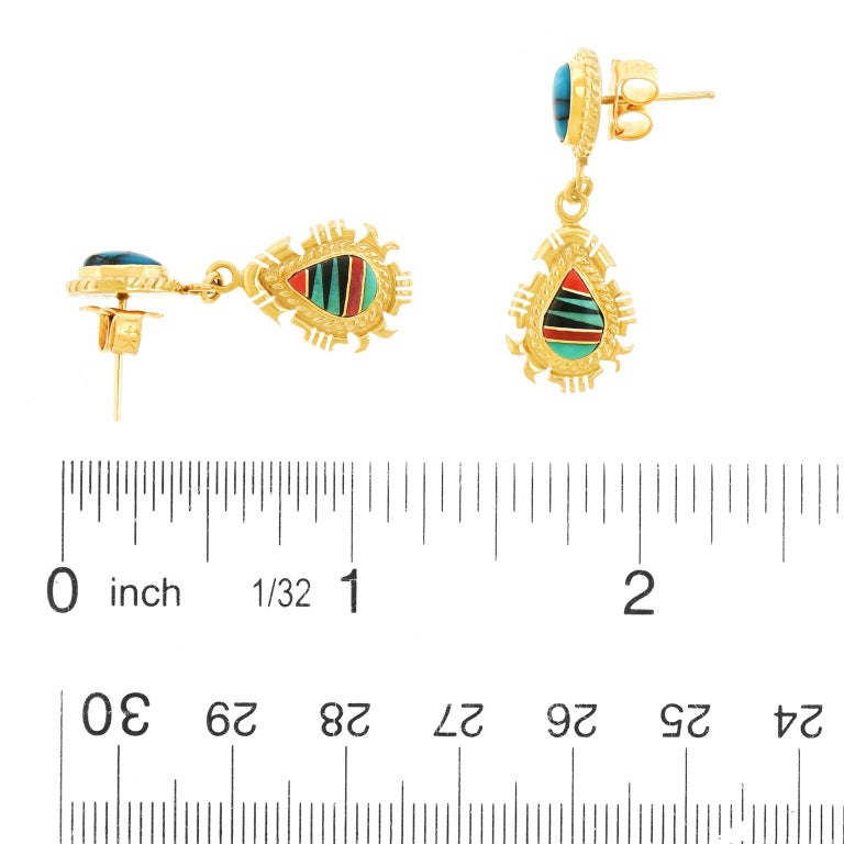 Women's Navajo Stone Inlay Gold Earrings For Sale