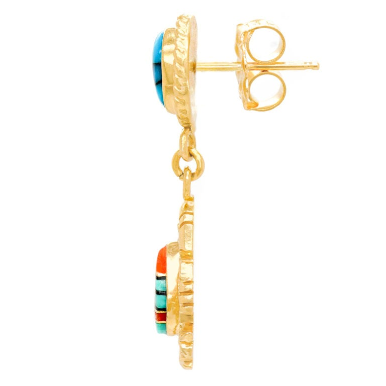 Navajo Stone Inlay Gold Earrings For Sale 1