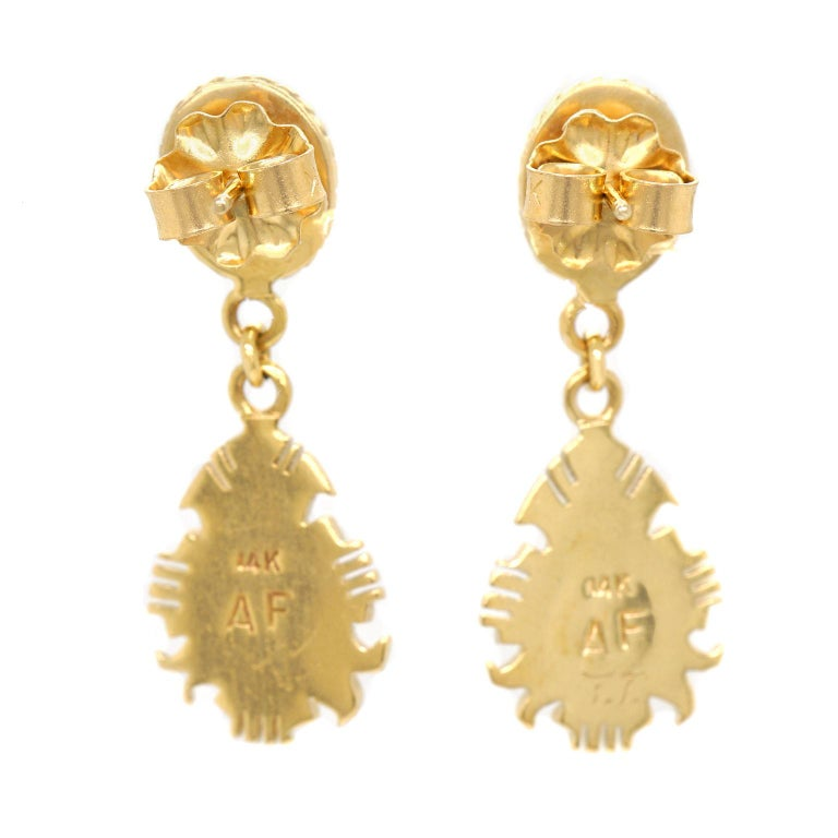 Navajo Stone Inlay Gold Earrings For Sale 2