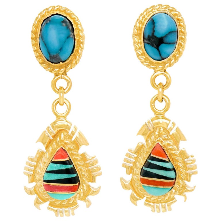Navajo Stone Inlay Gold Earrings For Sale