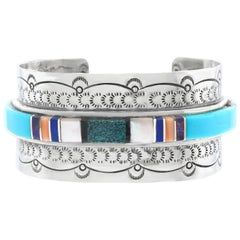 Navajo Stone-Set Sterling Cuff Bracelet
