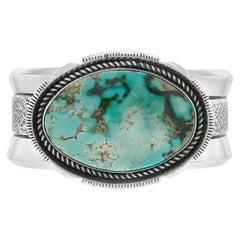 Navajo Tufa Cast Turquoise Cuff Bracelet