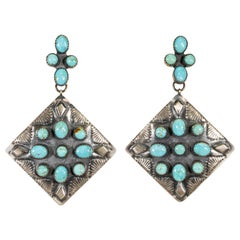 Navajo Turquoise and Hand Stamped Silver Earrings