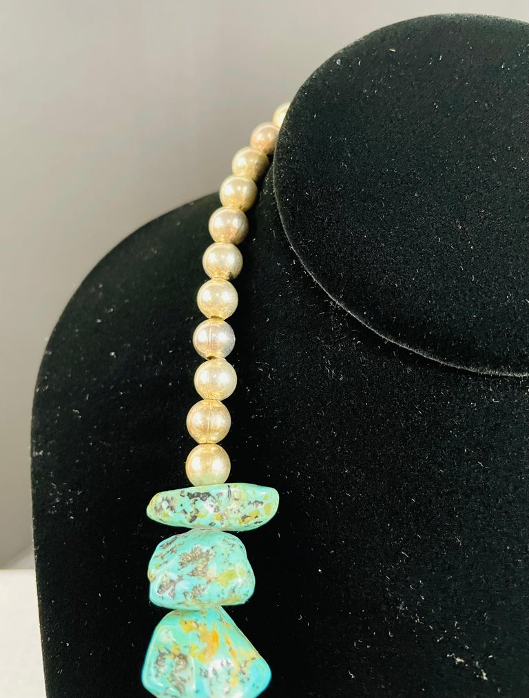 Navajo Turquoise and Pearls Necklace with Sterling Silver Cross Pendants For Sale 5
