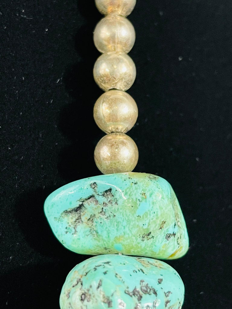 Navajo Turquoise and Pearls Necklace with Sterling Silver Cross Pendants For Sale 6