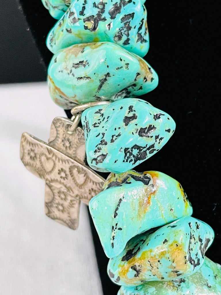 Navajo Turquoise and Pearls Necklace with Sterling Silver Cross Pendants For Sale 8