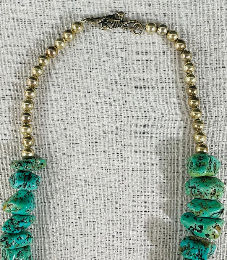 Tribal Navajo Turquoise and Pearls Necklace with Sterling Silver Cross Pendants For Sale