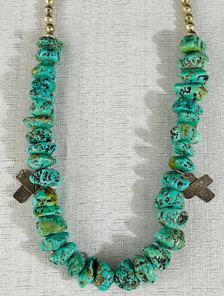 American Navajo Turquoise and Pearls Necklace with Sterling Silver Cross Pendants For Sale