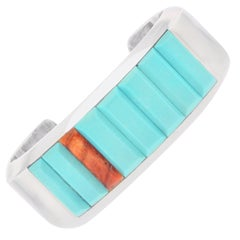 Navajo Turquoise and Spiny Oyster Cobblestone Cuff Bracelet