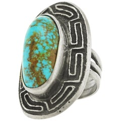 Navajo Turquoise and Sterling Ring by Harold Lovato