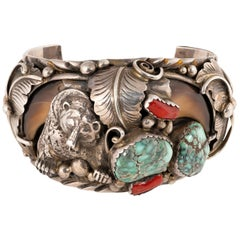 Navajo Turquoise, Coral, Claw and Sterling Bracelet