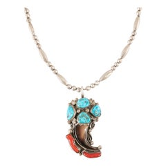 Navajo Turquoise, Coral, Claw and Sterling Necklace
