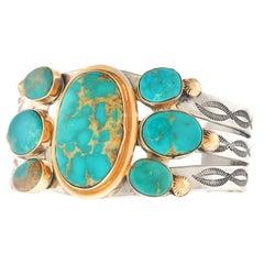 Navajo Turquoise Set Sterling Bracelet