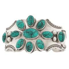 Navajo Turquoise-Set Sterling Cuff Bracelet