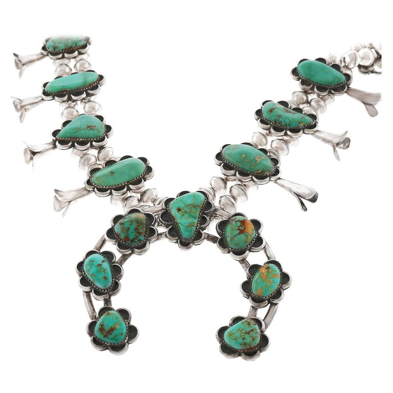 Navajo Turquoise Squash Blossom Necklace, circa 2000s For Sale