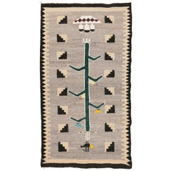 "Navajo Vintage Wood Rug ""Tree of Life"" 1950s"