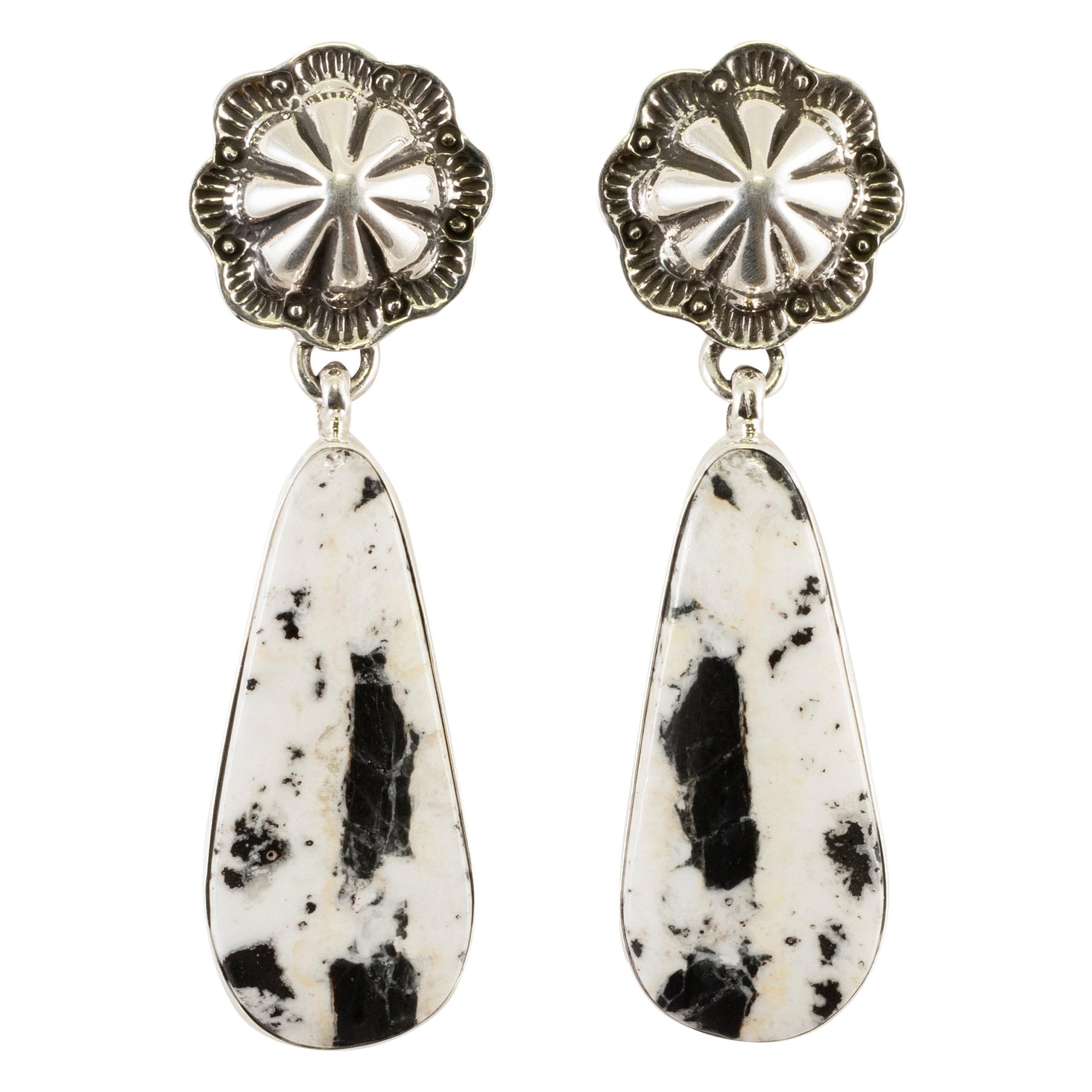 Navajo White Buffalo Turquoise Earrings