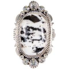 Navajo White Buffalo Turquoise Ring