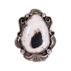 Navajo White Buffalo Turquoise Ring