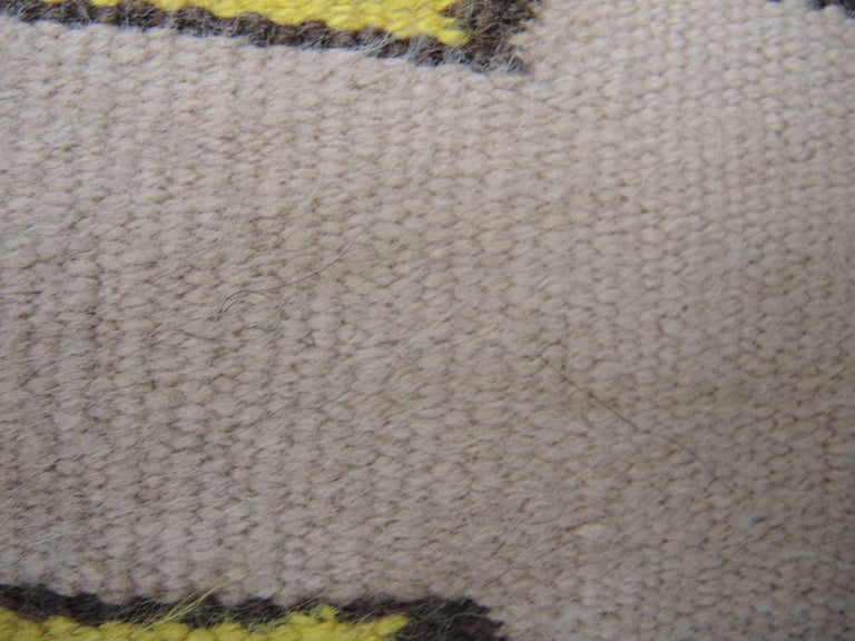 20th Century Navajo Yei Rug Woven by Nelly Nez with the Original Fred Harvey Tag For Sale