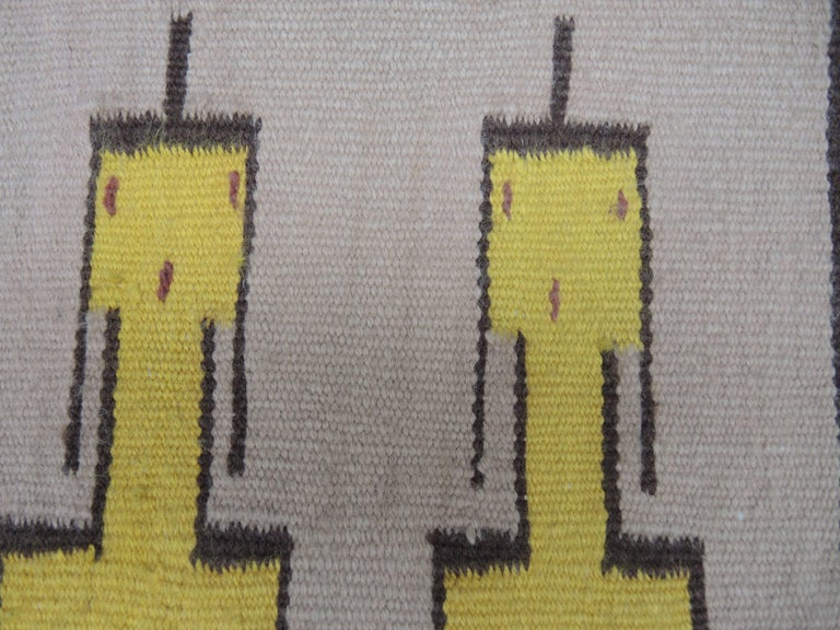 Wool Navajo Yei Rug Woven by Nelly Nez with the Original Fred Harvey Tag For Sale