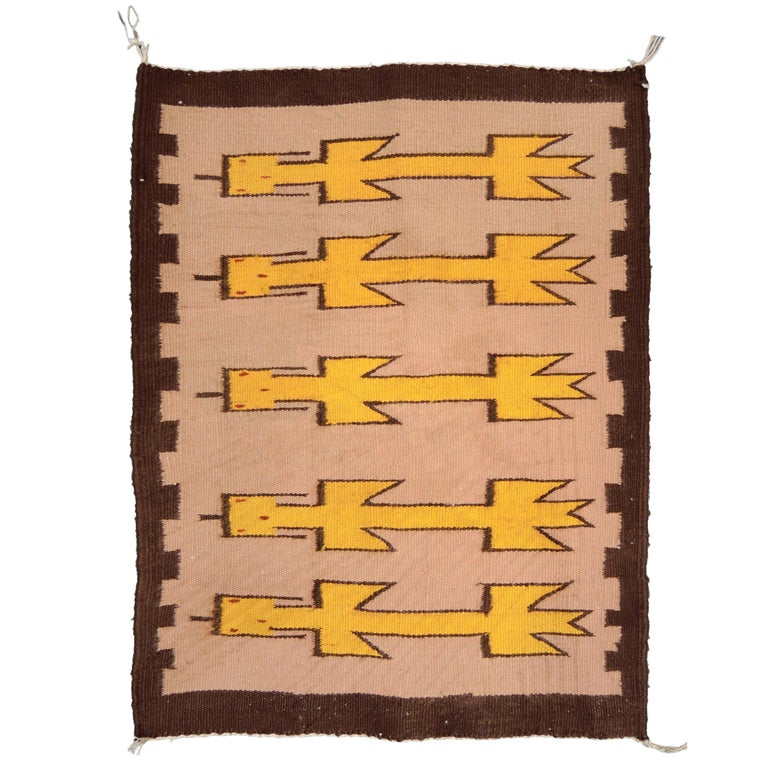 Navajo Yei Rug Woven by Nelly Nez with the Original Fred Harvey Tag For Sale
