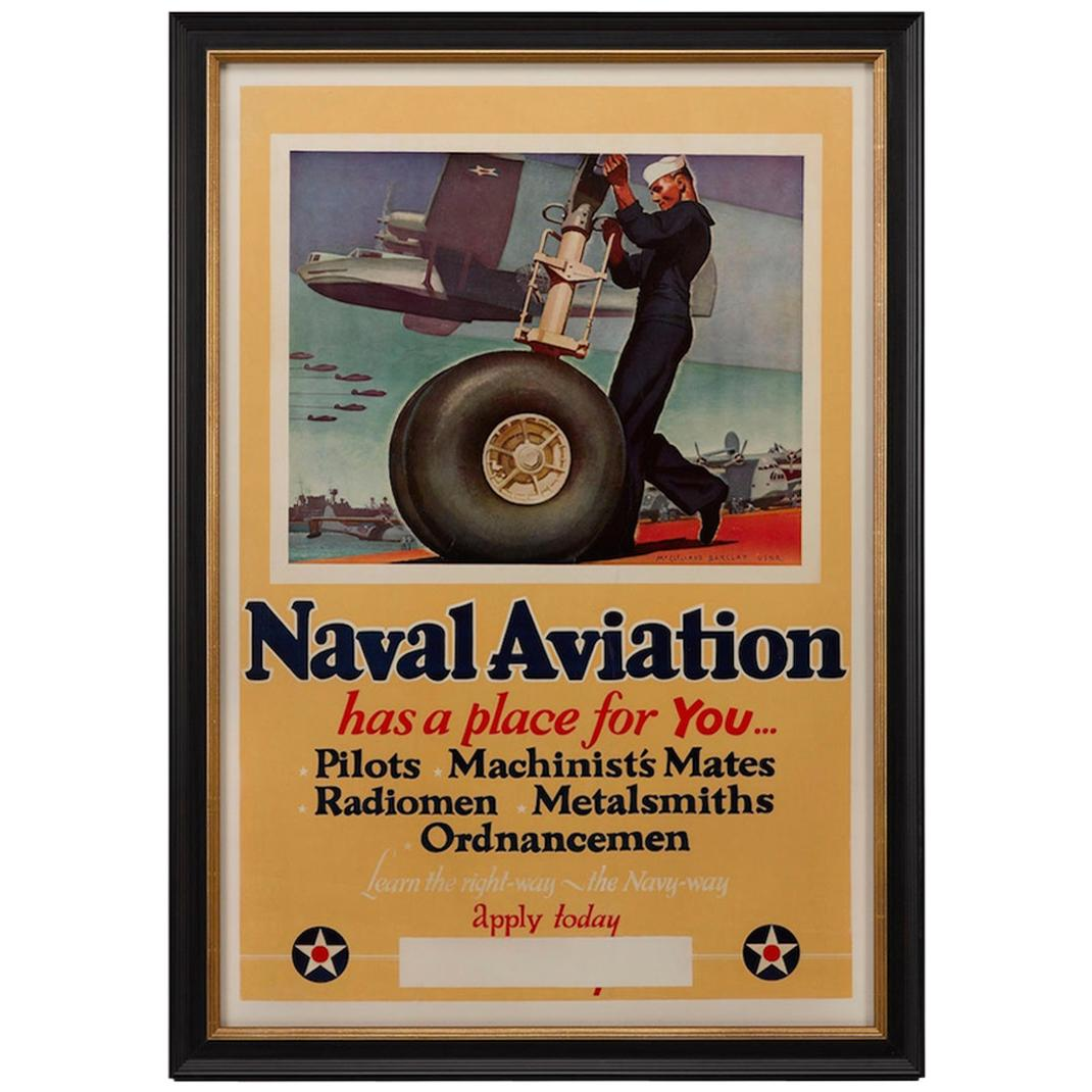 """U.S. Navy WWII Poster """"Naval Aviation has a place for You"""" by Barclay, 1942"""