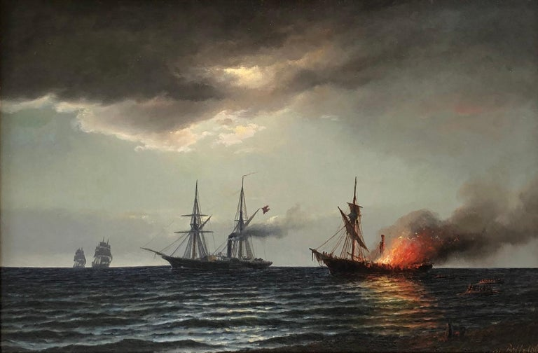Carl Ludvig Bille, Danish painter, 1815-1898 Oil on canvas, signed. And dated lower right On the reverse inscribed: The steamer Hekla (E. Suenson). Battle with v.d. Tann. u. a. f. Hafkvig 20/7 Measuring: 12.5