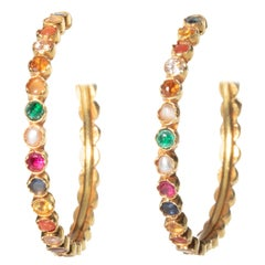 Navaratna 22 Karat Gold Hoops with Precious and Semi-Precious Stones