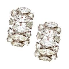 Navette Crystal Huggie Cocktail Earrings By Crown Trifari, 1950s