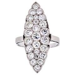 Navette Platinum 3.75 Carat Round Cut Diamond Ring