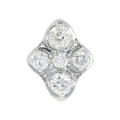 Navette Shaped 5-Stone Ring of Diamonds and Platinum