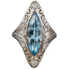 Navette-Shaped Aquamarine and Diamond Plaque Ring