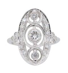 Navette Style Diamond Ring in 18 Karat White Gold