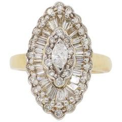 Navette Style Marquise Shaped Diamond Ring