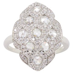 Navette Style Ring Featuring Rose Cut Diamonds