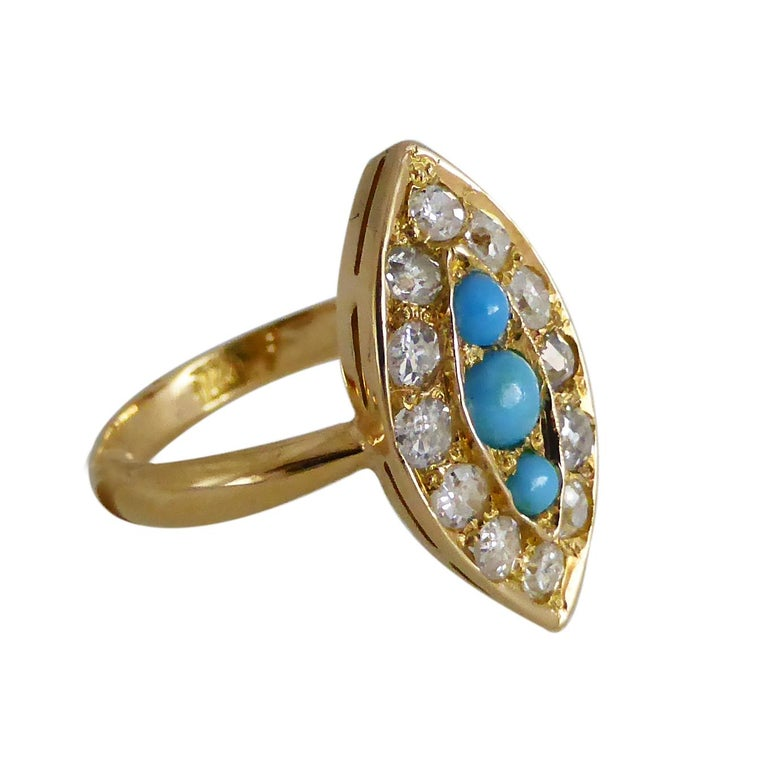 Late Victorian Navette Turquoise Diamond Marquise Antique Ring For Sale